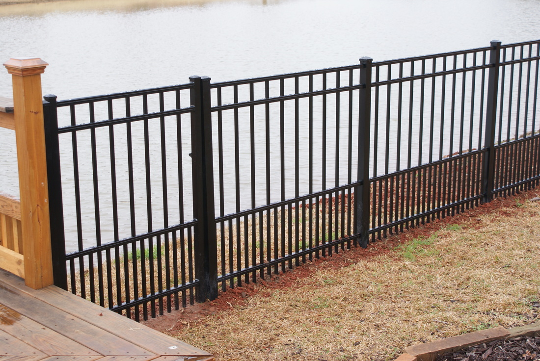 Fences southern structures fences and decks 5 foot high steel ornamental puppy panel fence with 4 foot gate and pool code child proof lock baanklon Images